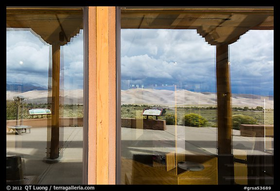 Dune field, visitor center window reflexion. Great Sand Dunes National Park and Preserve (color)