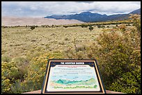 Dune field interpretative sign. Great Sand Dunes National Park, Colorado, USA. (color)