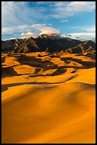 Mount Herard and dune field at sunset. Great Sand Dunes National Park, Colorado, USA. (color)