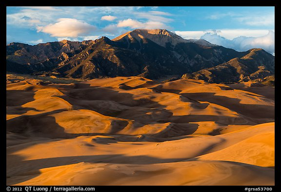 Last light tover dune field and Mount Herard. Great Sand Dunes National Park and Preserve (color)