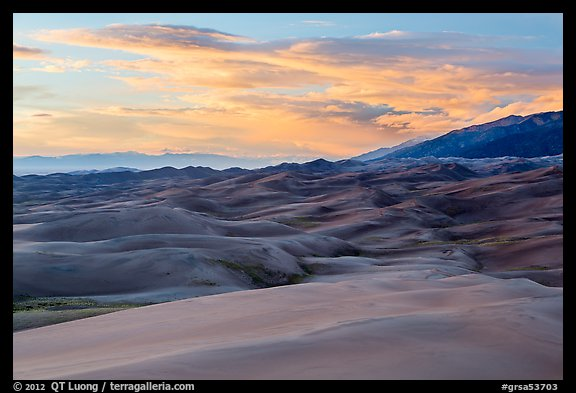 Dunes and sunset clouds. Great Sand Dunes National Park and Preserve (color)