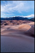 Dunes and Mount Herard at dusk. Great Sand Dunes National Park, Colorado, USA. (color)