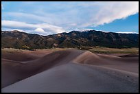 Dunes and Mount Zwischen at dusk. Great Sand Dunes National Park, Colorado, USA. (color)