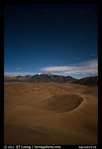Dunes and Sangre de Cristo Mountains at night. Great Sand Dunes National Park and Preserve (color)