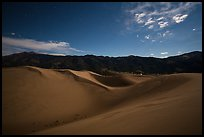 Dunes and mountains at night. Great Sand Dunes National Park and Preserve, Colorado, USA.