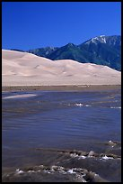 Medano creek, Sand Dunes, and Sangre de Cristo Mountains. Great Sand Dunes National Park, Colorado, USA. (color)