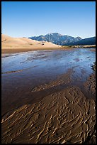 Shallow Medano Creek and sand patterns. Great Sand Dunes National Park and Preserve ( color)