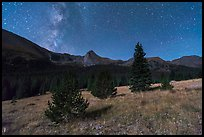 Milky Way, Sand Creek Valley, and Tijeras Peak. Great Sand Dunes National Park and Preserve, Colorado, USA.