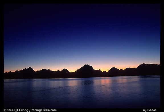 Teton range above Jackson lake, dusk. Grand Teton National Park (color)