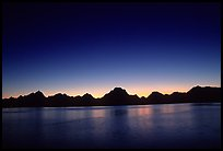 Teton range above Jackson lake, dusk. Grand Teton National Park, Wyoming, USA.