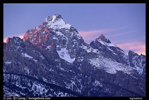 Grand Teton with snow, winter sunset. Grand Teton National Park, Wyoming, USA.