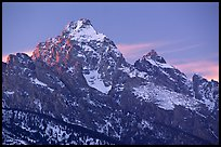Grand Teton with snow, winter sunset. Grand Teton National Park, Wyoming, USA. (color)