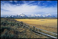 Fence and Teton range in fall. Grand Teton National Park, Wyoming, USA.