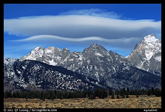 Lenticular cloud above the Grand Teton. Grand Teton National Park (color)