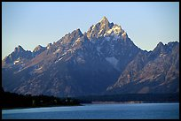 Grand Teton rises above Jackson lake. Grand Teton National Park, Wyoming, USA. (color)