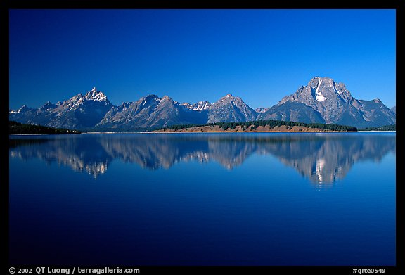 The Teton range above blue Jackson lake. Grand Teton National Park, Wyoming, USA.
