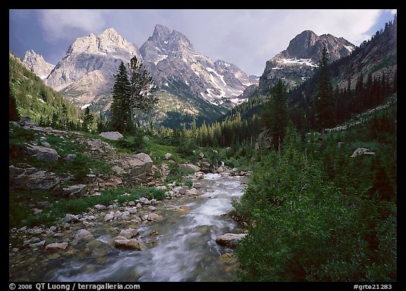Valley, Cascade creek and Teton range with storm light. Grand Teton National Park (color)