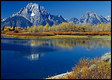 Mt Moran reflected in Oxbow bend in autumn. Grand Teton National Park, Wyoming, USA. (color)