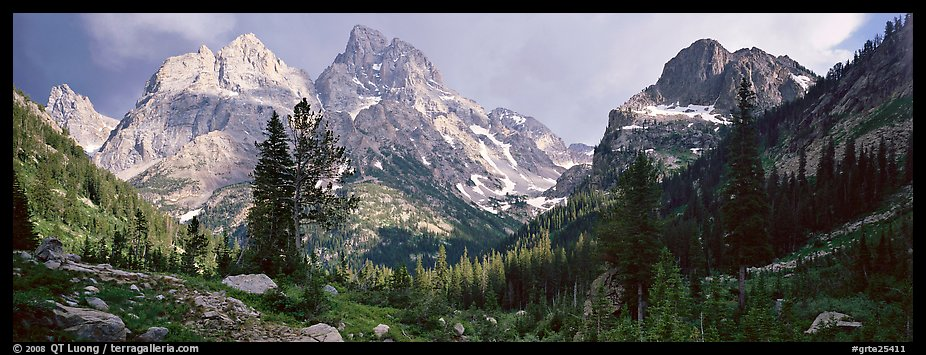 Mountain scenery with dramatic peaks. Grand Teton National Park (color)