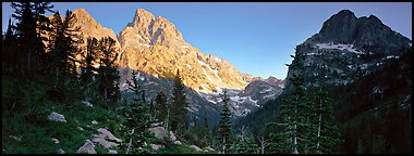 Grand Teton at sunset. Grand Teton National Park (Panoramic color)