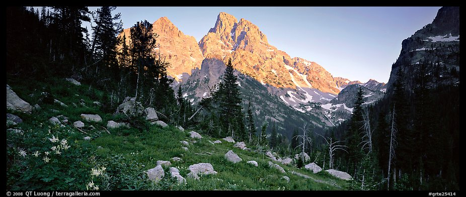 Rugged peaks lit by last light. Grand Teton National Park (color)