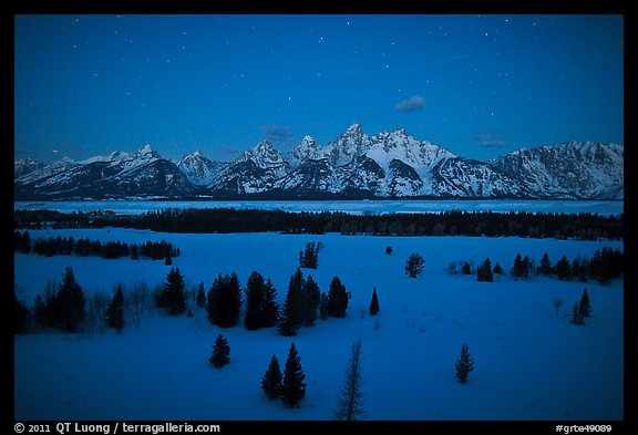 Teton range at night in winter. Grand Teton National Park (color)