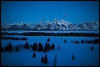 Teton range at night in winter. Grand Teton National Park, Wyoming, USA.