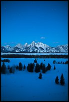 Night view of Teton range in winter. Grand Teton National Park, Wyoming, USA.