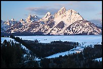 Grand Teton, winter sunrise. Grand Teton National Park, Wyoming, USA.