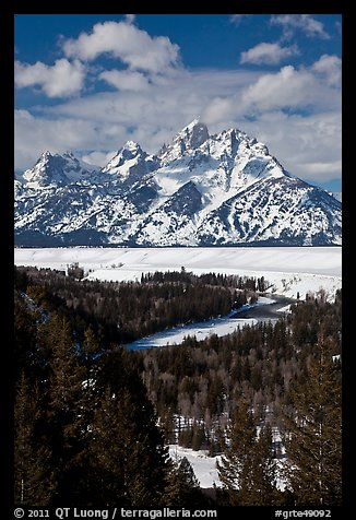 Snake River bend and Grand Teton in winter. Grand Teton National Park (color)