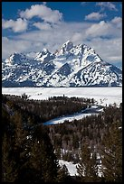 Snake River bend and Grand Teton in winter. Grand Teton National Park, Wyoming, USA.