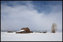 Moulton Barn in winter. Grand Teton National Park, Wyoming, USA. (color)