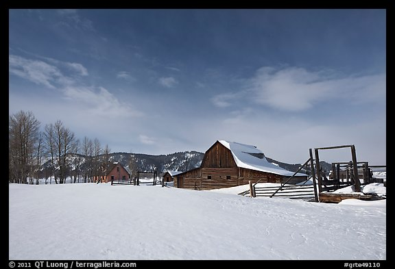 Moulton homestead, Mormon row historic district, winter. Grand Teton National Park, Wyoming, USA.