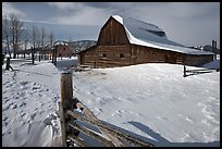 Historic Mormon Row homestead in winter. Grand Teton National Park, Wyoming, USA. (color)