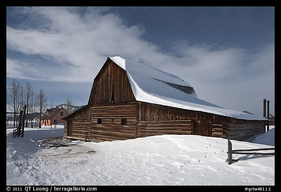 John and Bartha Moulton homestead in winter. Grand Teton National Park, Wyoming, USA.