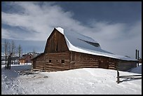 John and Bartha Moulton homestead in winter. Grand Teton National Park, Wyoming, USA. (color)
