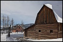Moulton barn and house in winter. Grand Teton National Park, Wyoming, USA. (color)