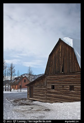 Wooden barn and house, Moulton homestead. Grand Teton National Park, Wyoming, USA.