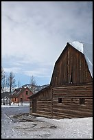 Wooden barn and house, Moulton homestead. Grand Teton National Park, Wyoming, USA. (color)