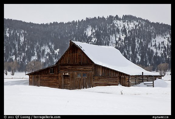 Thomas Alma and Lucille Moulton Homestead, winter. Grand Teton National Park, Wyoming, USA.