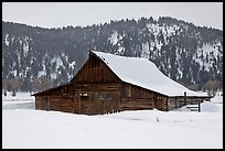 Thomas Alma and Lucille Moulton Homestead, winter. Grand Teton National Park, Wyoming, USA. (color)
