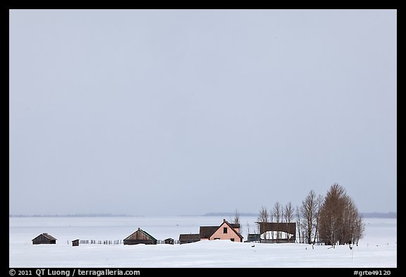Mormon row homesteads and Jackson Hole in winter. Grand Teton National Park, Wyoming, USA.
