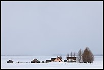 Mormon row homesteads and Jackson Hole in winter. Grand Teton National Park, Wyoming, USA. (color)