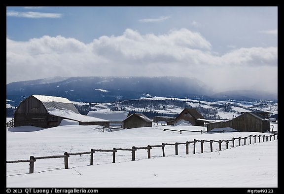 Chambers and Perry homesteads in winter, Mormon Row. Grand Teton National Park (color)