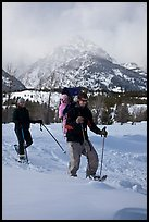 Couple snowshowing with baby. Grand Teton National Park, Wyoming, USA. (color)