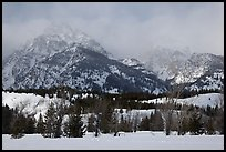 Below Teton range in winter. Grand Teton National Park, Wyoming, USA.