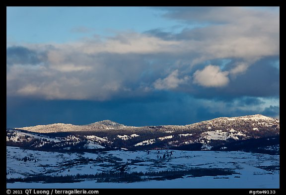 Late light on hills in winter. Grand Teton National Park (color)