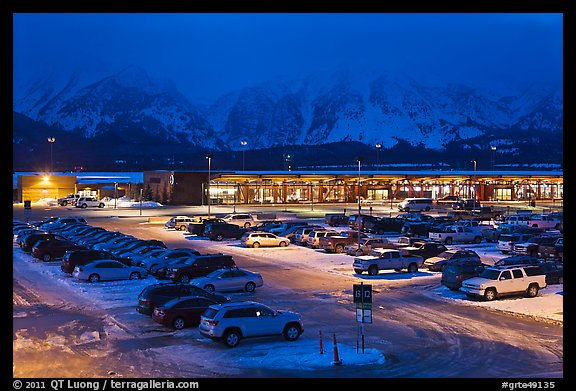 Jackson Hole airport at night. Grand Teton National Park, Wyoming, USA.