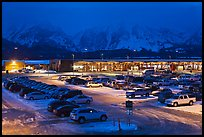 Jackson Hole airport at night. Grand Teton National Park, Wyoming, USA. (color)