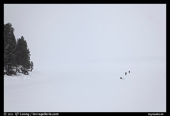 Frozen Jackson Lake in white-out, ice fishermen. Grand Teton National Park (color)
